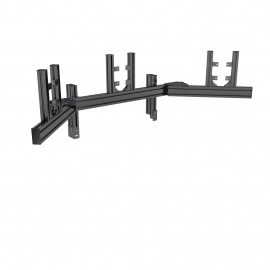 "Black triple screen support in junction from 19"" to 32"", adjustable corner plates"